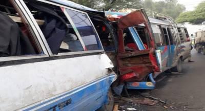 لاہور:دو کوسٹر اور بس میں تصادم،20 افراد زخمی
