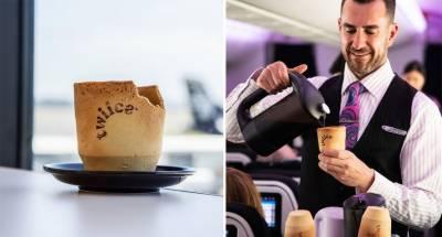 کھانے کے قابل کافی کپ کا ایئر نیوزی لینڈ کی پروازوں میں تجربہ