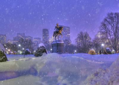 واشنگٹن سے بوسٹن تک برف باری ,سردی میں اضافہ