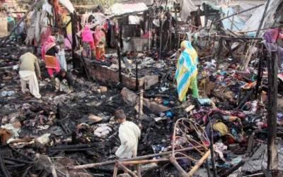 متحدہ عرب امارات کی جانب سے جل کر راکھ ہونے والی جھگیوں کی بستی کے لیے امداد