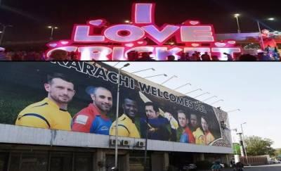 PSL2020: کراچی کی معروف شاہراہیں سجنے لگیں