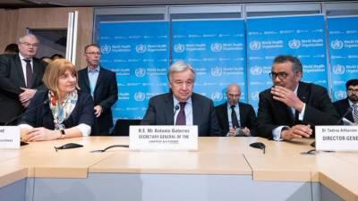 اقوام متحدہ کے سیکرٹری جنرل کا کورونا وائرس کی پیشرفت سے آگاہی کے لئے عالمی ادارہ صحت کے ہیڈکواٹرکا دورہ