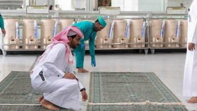 کرونا وائرس کا خطرہ: الحرمین الشریفین سے قالین اٹھا لیے گئے
