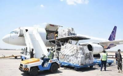 کرونا سے نمٹنے کیلئے چین سے امدادی سامان کی ایک اور کھیپ پاکستان پہنچ گئی''