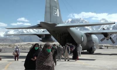 پاک فضائیہ اے سی 130 نے زائرین کو اسکردو پہنچا دیا
