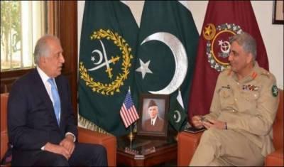 آرمی چیف جنرل قمر جاوید باجوہ سے زلمے خلیل زاد کی ملاقات، افغان امن عمل پر بات چیت