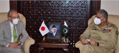جاپانی سفیرکی آرمی چیف سے ملاقات،علاقائی امن واستحکام میں پاکستان کے کردار کوسراہا