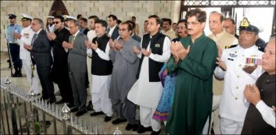 یوم آزادی ، گورنرسندھ اوروزیراعلی سندھ کی مزارِ قائد پر حاضری، فاتحہ خوانی