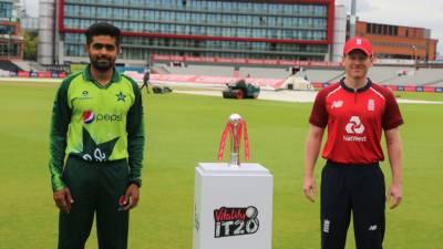 پاکستان اور انگلینڈ کی ٹیموں کے درمیان تین ٹی ٹونٹی میچز کی سیریز کی ٹرافی کی تقریب رونمائی