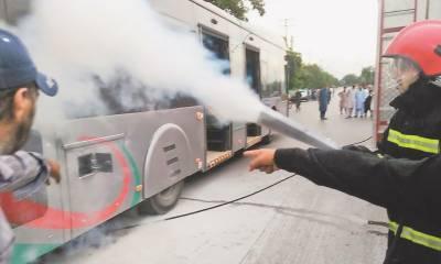 بی آر ٹی کی بسوں میں آتشزدگی، سروس عارضی طور پر بند