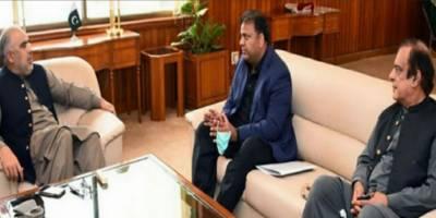 فواد چوہدری اور شبلی فراز کی اسد قیصر سے ملاقات، انتخابی عمل میں آئینی ترامیم سے شفافیت کو یقینی بنانا حکومت اور اپوزیشن کی مشترکہ ذمہ داری ہے:وفاقی وزیر
