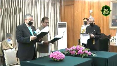 شوکت ترین اور شبلی فراز نے وفاقی وزیر کا حلف اٹھا لیا