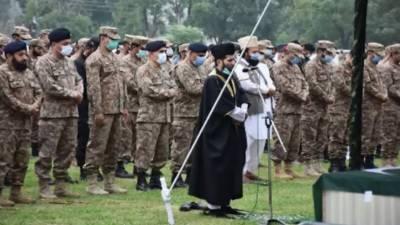 آزاد جموں وکشمیر میں شہید پاک فوج کے اہلکاروں کی نمازِجنازہ مظفرآباد میں ادا کردی گئی