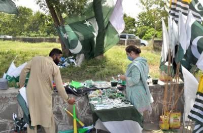 14 اگست کی آمد آمد ، شہر اقتدار کی سڑکوں پر سبز ہلالی پرچموں کی بہار