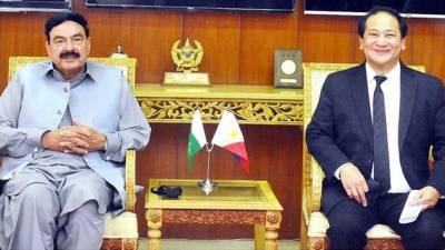 وزیر داخلہ شیخ رشید احمد سے فلپائنی سفیر کی ملاقات، افغانستان میں پھنسے فلپائنی شہریوں کے انخلا سے متعلق تبادلہ خیال کیا