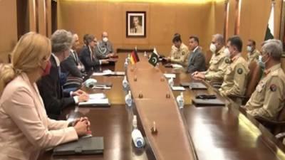 آرمی چیف ے جرمن وزیر خارجہ کی ملاقات ، باہمی دلچسپی کے امور افغانستان سمیت خطے کی مجموعی سیکورٹی صورتحال پر تبادلہ خیال