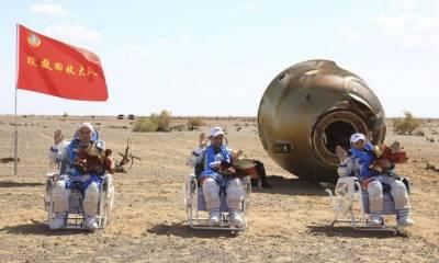 چینی خلاباز 90 دن کا خلائی مشن مکمل کرنے کے بعد زمین پر واپس آگئے