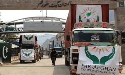 پاکستان کاجذبہ خیرسگالی ،خوراک کے 17 ٹرک طورخم بارڈر پر افغانستان کے حوالےکردیئے