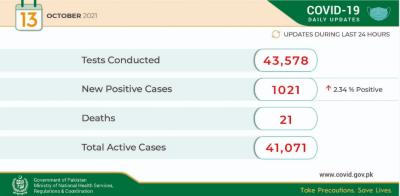 24 گھنٹوں کے دوران ملک بھر میں 43 ہزار 578 کورونا ٹیسٹ کئے گئے ہیں،وزارت قومی صحت