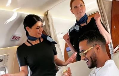 مصری اداکارکے ساتھ پرواز میں دو جرمن فضائی میزبانوں کا ڈانس