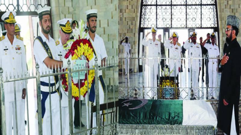 پاک بحریہ کے سر براہ کی مزار قائد پر حا ضری' پھو لو ں کی چادرچڑھائی