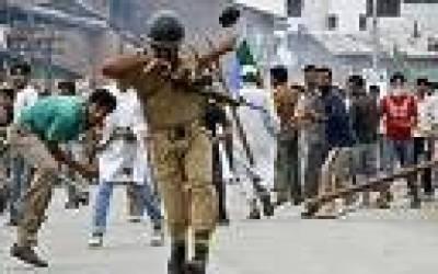 مقبوضہ کشمیر: انتخابی ڈھونگ کے چوتھے مرحلے کے خلاف مظاہرے' ہڑتال' لاٹھی چارج' درجنوں زخمی'لڑکی کی عصمت دری پر احتجاج