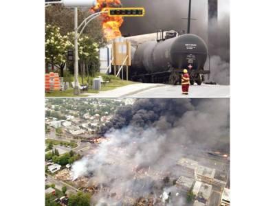 کینیڈا: تیل بردار ٹرین کو حادثہ' دھماکے' ہولناک آتشزدگی' 30 عمارتیں تباہ' ایک ہلاک' درجنوں افراد لاپتہ