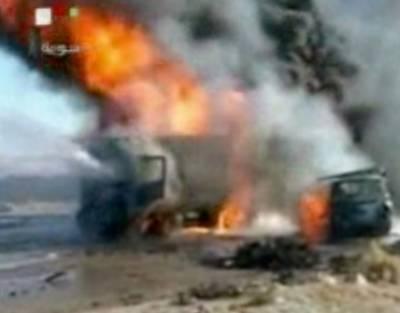 کراچی: دھماکے سے ٹرک تباہ، 3 افراد زخمی