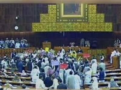 قومی اسمبلی : تحفظ پاکستان ترمیمی بل منظور' اپوزیشن نے کاپیاں پھاڑ دیں' سپیکر کا گھیرائو' ووٹنگ سے قبل واک آئوٹ جے یو آئی (ف) نے بھی ساتھ دیا