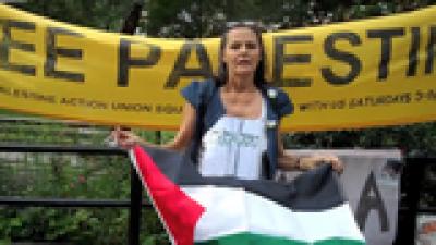 نیو یارک، حماس کے حق میں امریکی خاتون کے نعرے