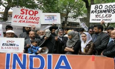 مودی کے خطاب کے دوران اقوام متحدہ کے سامنے کشمیریوں کا مظاہرہ