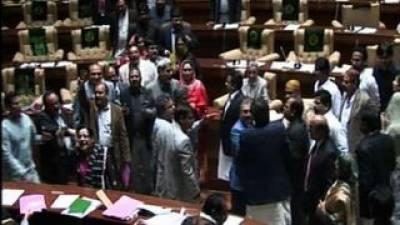 سندھ اسمبلی : بجٹ منظور' اپوزیشن کا ہنگامہ مالیاتی بل کی کاپیاں پھاڑ دیں پانی دو ٹیکس نامنظور کے نعرے