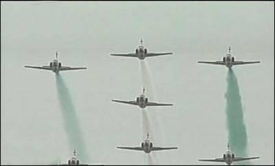 پاک فضائیہ کے لڑاکا طیاروں اور آرمی کے ہیلی کاپٹروں کا فلائی پاسٹ