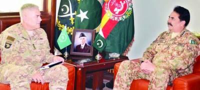 آرمی چیف سے ایساف کمانڈر کی ملاقات، سرحدی صورتحال، مفاہمتی عمل پر تبادلہ خیال