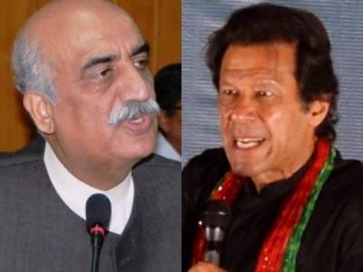 بلیک میل ہونگے نہ موقف سے ایک انچ پیچھے ہٹیں گے : عمران خان' ہماری باتوں پر عمل نہ ہوا تو دیکھیں گے : خورشید شاہ
