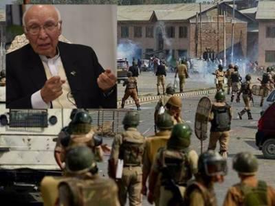 بھارتی فوج نے مزید دو نوجوان شہید کر دیئے : مسئلہ کشمیر پر پیشرفت تک بھارت سے تعلقات بہتر نہیں ہو سکتے : سرتاج عزیز