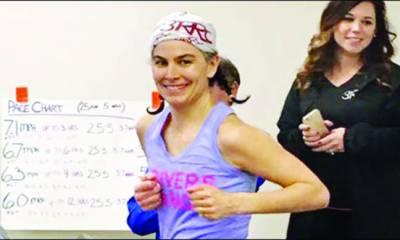 امریکی خاتون نے ٹریڈ مِل پر 12گھنٹے دوڑ کر عالمی ریکارڈ بنا ڈالا