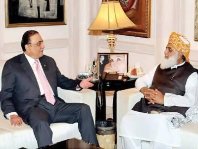 زرداری، فضل الرحمن ملاقات سیاسی معاملات میں ملکر چلنے پر اتفاق سابق صدر کی کامیاب اجتماع پر مولانا کو مبارکباد