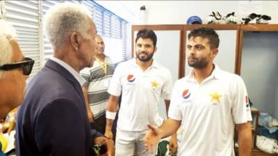 ویسٹ انڈین لیجنڈ سر گیری سوبرز کی پاکستانی کرکٹرز سے ملاقات
