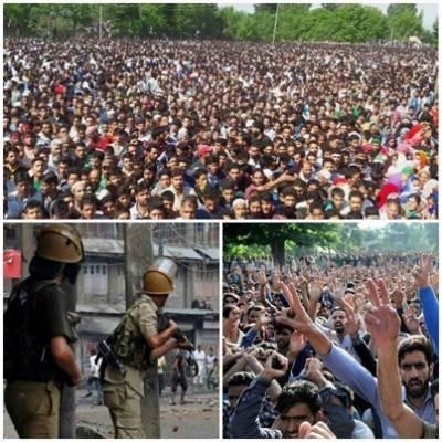 مقبوضہ کشمیر : ہزاروں افراد کی کوفیو توڑ کر شہدا کے جنازے میں شرکت' لاٹھی چارج' 50 زخمی' ہڑتال سے زندگی مفلوج....