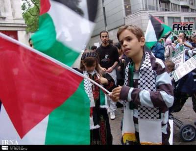 غزہ میں ہزاروں یتیم بچوں اور مساکین کا قطر کے ساتھ یکجہتی کیلئے مظاہرہ