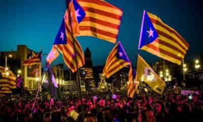 برسلز: سپین سے آزادی کیلئے کاتالونیا کے حامیوں کی ریلی ،45 ہزار افراد کی شرکت