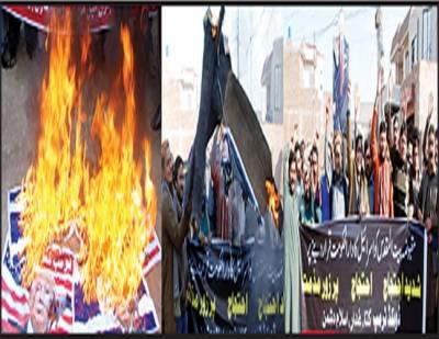 انجمن تاجران زکریا ٹائون کا امریکہ و اسرائیل کیخلاف احتجاجی مظاہرہ، پتلا نذر آتش