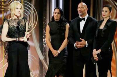 75 ویں گولڈن گلوب ایوارڈز میںجنسی ہراسیت کیخلاف ستاروںکی سیاہ ملبوسات میں شرکت