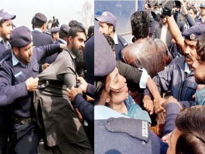 اسلام آباد، ڈیلی ویجز احتجاجی اساتذہ پر پولیس کا تشدد،گرفتاری کی بھی کوشش