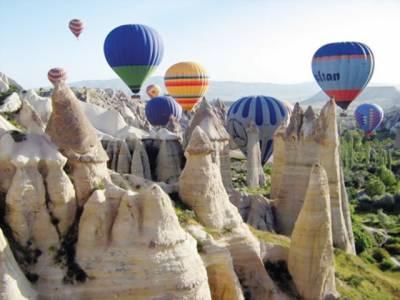 ترکی کے تاریخی مقام پر ہوا ہاٹ ائیر بیلون شو