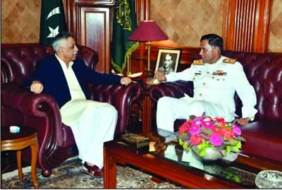 گورنرسندھ سے کمانڈر کراچی رئیر ایڈمرل اطہر مختار کی الوداعی ملاقات