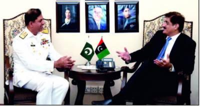وزیراعلیٰ مراد علی شاہ سے کمانڈر کراچی ریئر ایڈمرل آصف خالق کی ملاقات