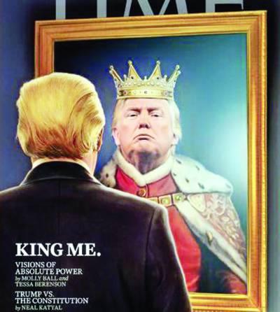 """ٹائم میگزین نے ٹرمپ کو سرورق پر"""" بادشاہ"""" بنا دیا"""