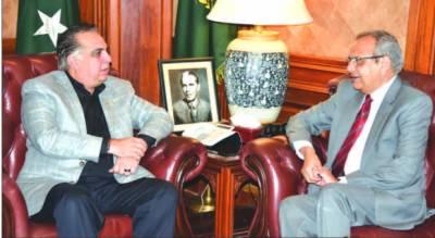 گورنرسندھ اسماعیل سے پروفیسر ڈاکٹر محمد اجمل خان کی ملاقات